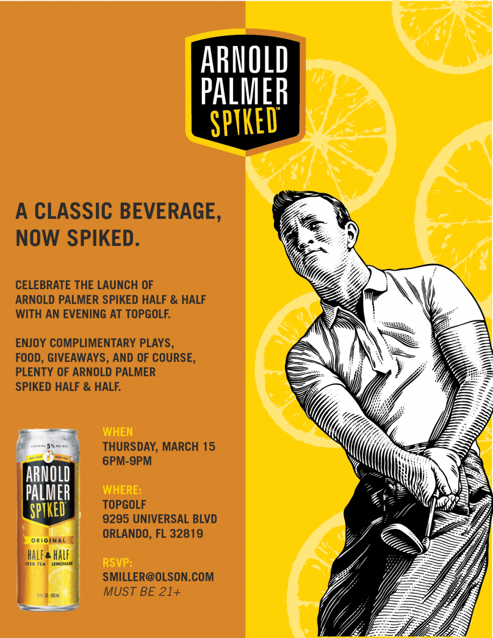 Spike Things Up: Arnold Palmer Spiked Half & Half x TopGolf Orlando I-Drive