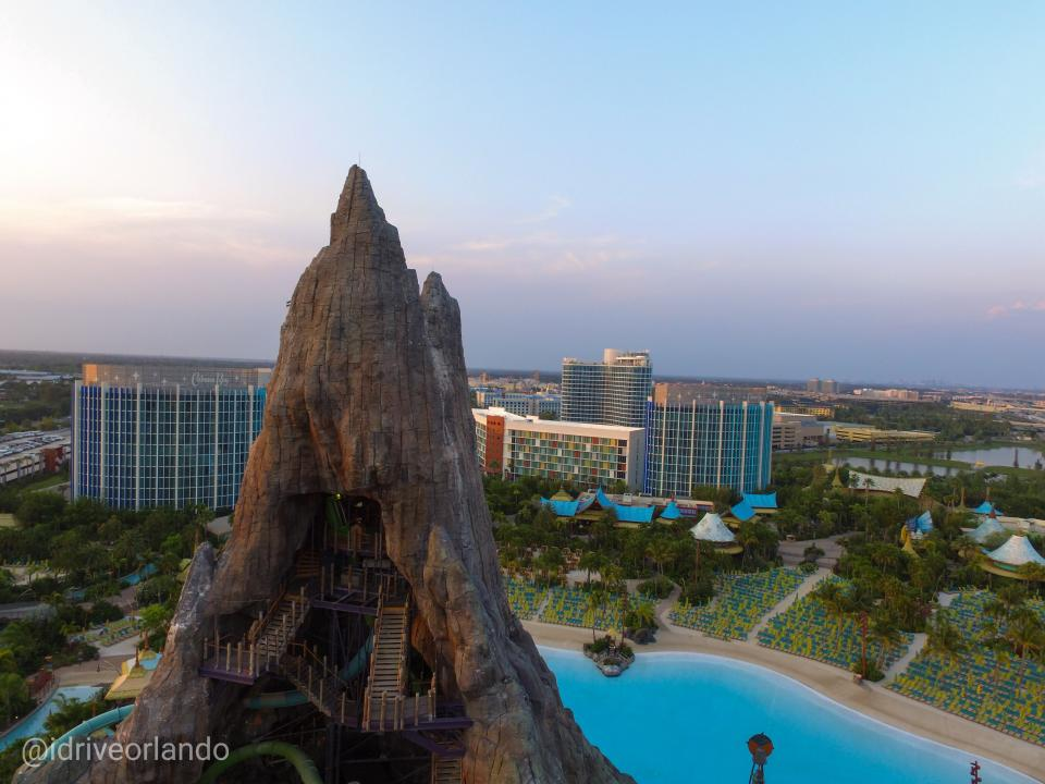 Drone Fly Over of Universal Orlando Volcano Bay waterpark During Covid-19 Shutdown
