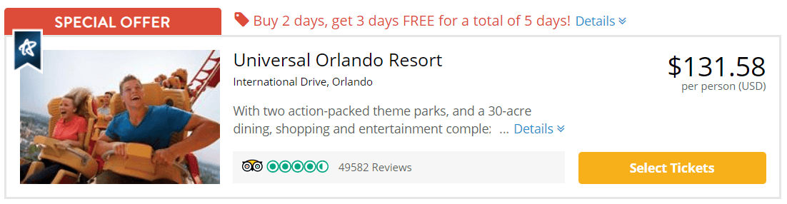 Cheapest Universal Orlando Tickets